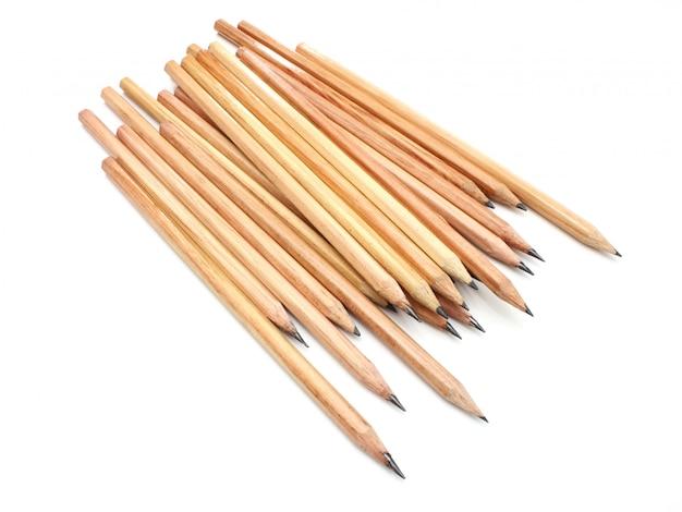 黄色の地面の鉛筆の嘘は白雪姫の背景に分離