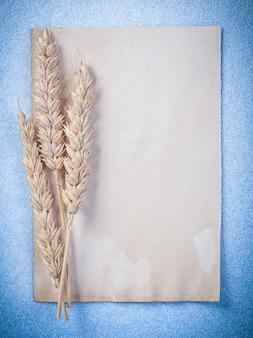 ライ麦の耳とヴィンテージの空白の紙シート