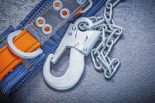 金属チェーンカラビナ付き安全ベルト