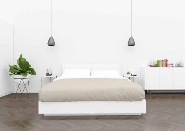 Скандинавская спальня - пустая стена