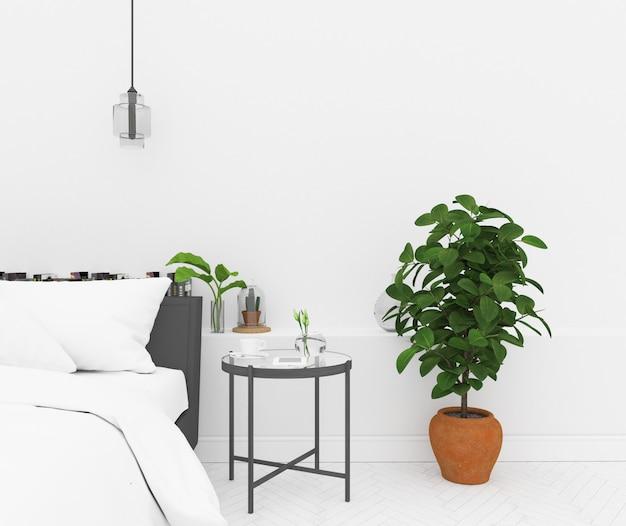 北欧の寝室 - 空白の壁のモックアップ