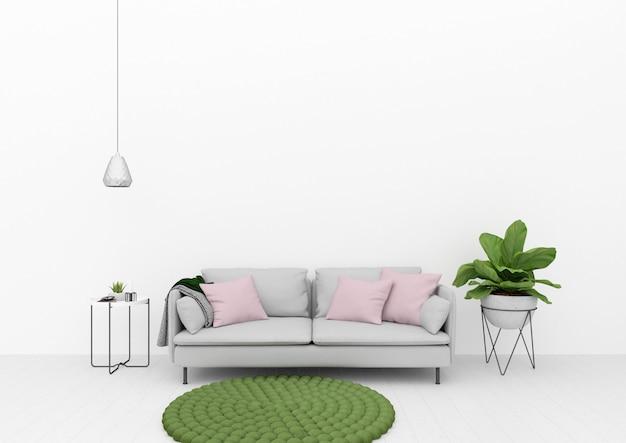緑の装飾が施されたリビングルーム