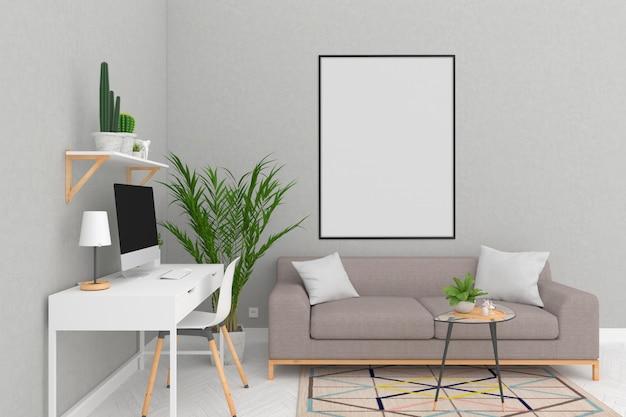 スカンジナビアの部屋のアートワークの背景フレームのモックアップ