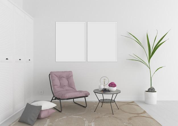 二重空白のフォトフレームまたはアートワークフレーム、インテリアモックアップと白いインテリア