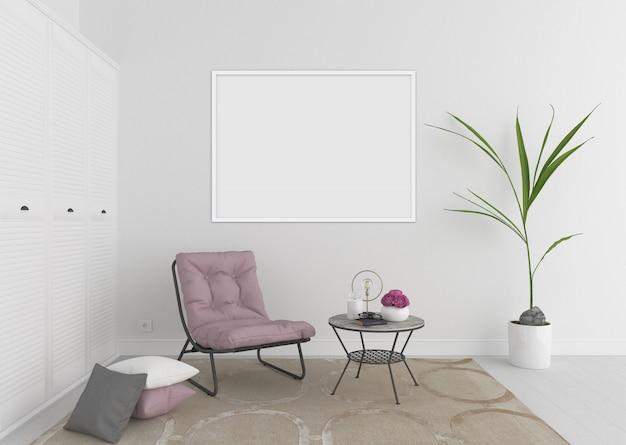 水平の空白のフォトフレームまたはアートワークフレーム、インテリアモックアップと白のインテリア
