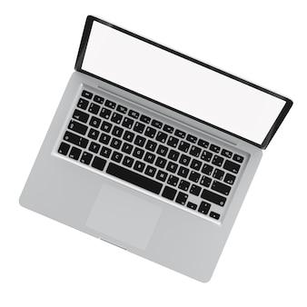 Вид сверху современный компьютер ноутбук открыть белый экран на белом фоне