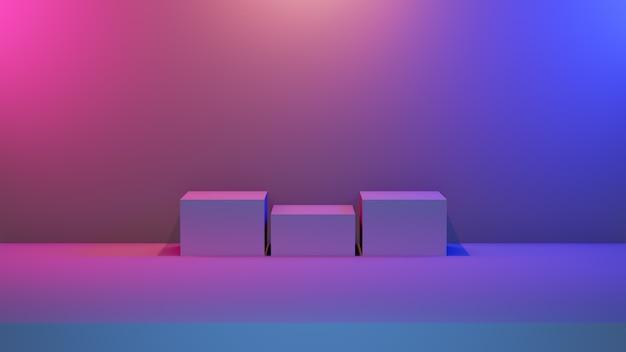 抽象的なブルーピンクの活気に満ちた台座ステージ
