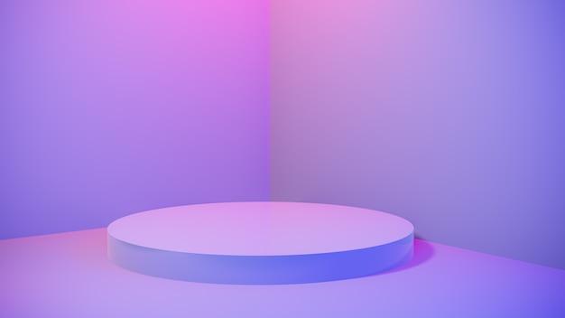 ブルーピンクの鮮やかな光のステージの最小限の背景で抽象的な空の台座