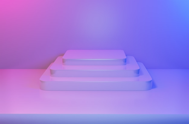 ブルーピンクの鮮やかな光で抽象的な空の正方形の台座