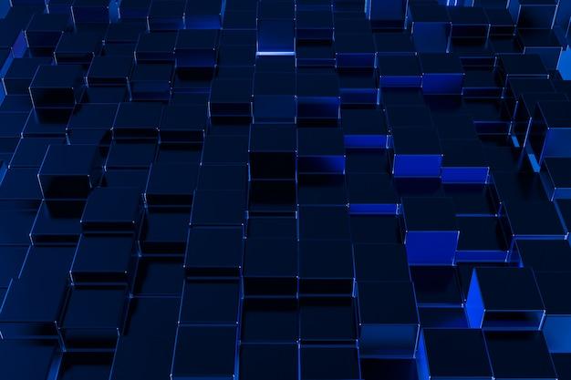 抽象的なブルーキューブ粒子背景建設ブロック技術コンピューター