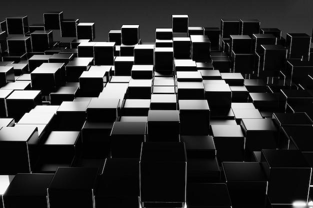 抽象的なブラックボックスキューブ背景