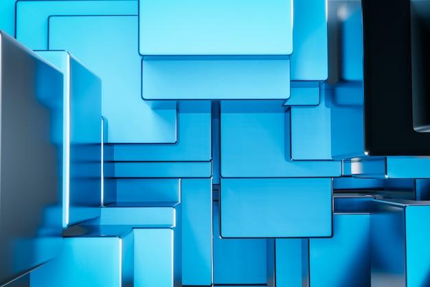青い金属キューブ建設ブロックの背景