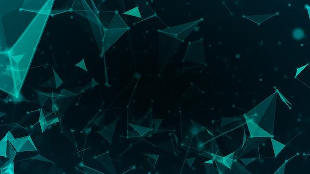 抽象的なテクノロジーネットワークを接続し、原子科学の概念の背景の未来的なモーショングラフィックの背景