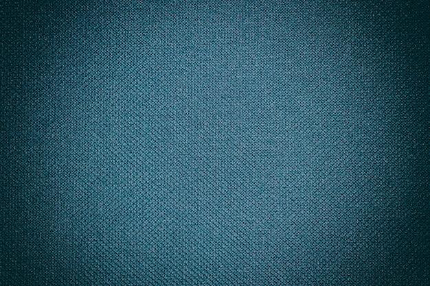 構造的に織物の布繊維の布のダークブルー織物のテクスチャ