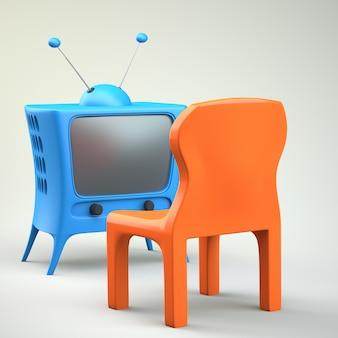 Мультипликационный телевизор со стулом
