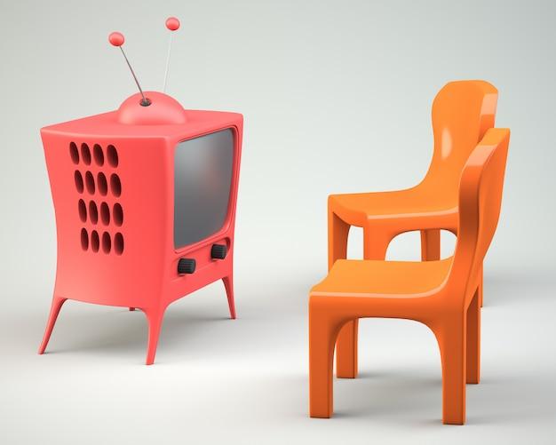 Мультипликационный телевизор с двумя стульями