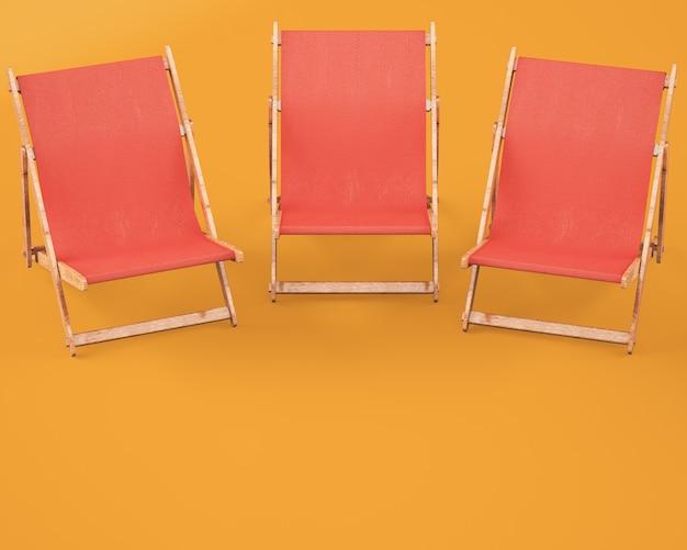 オレンジの木製長椅子