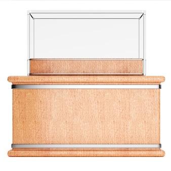 Пустая стеклянная витрина на деревянном постаменте