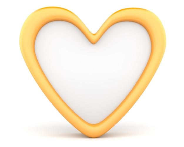 Золотое сердце на белом фоне