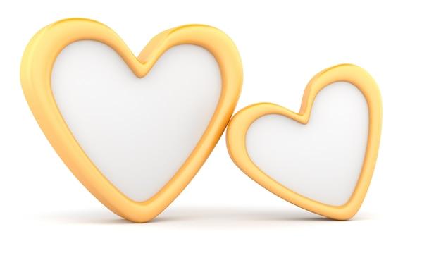Два золотых сердца, изолированные на белом фоне