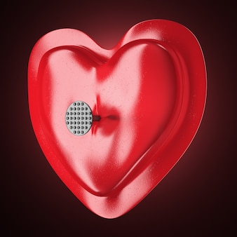 Красное абстрактное сердце на темном фоне