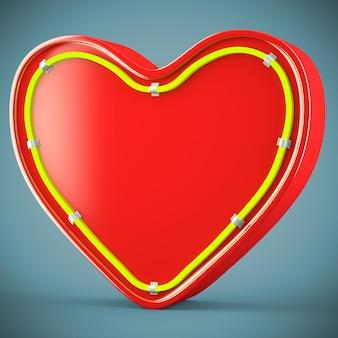 Сердце с неоновым блеском украшения на темно-синем фоне