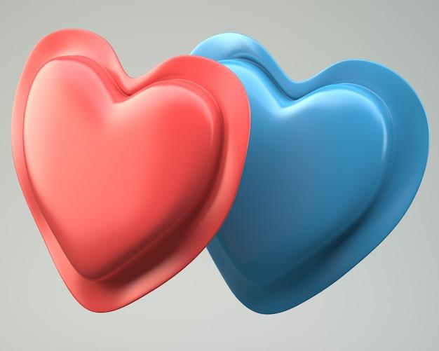 Красные и синие сердца на сером фоне