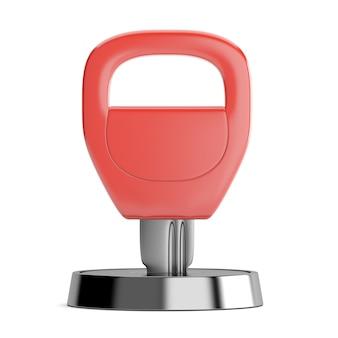 Красный ключ в замочной скважине на белом фоне