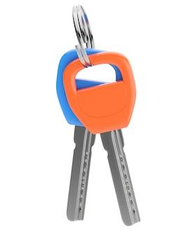 Оранжевые и синие ключи на белом фоне