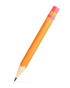 Оранжевый карандаш со стиранием на белом фоне