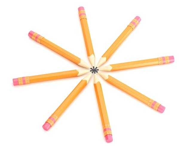 Оранжевые карандаши со стиранием на белом фоне