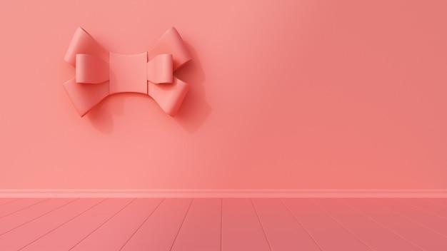 Розовый интерьер с галстуком на стене