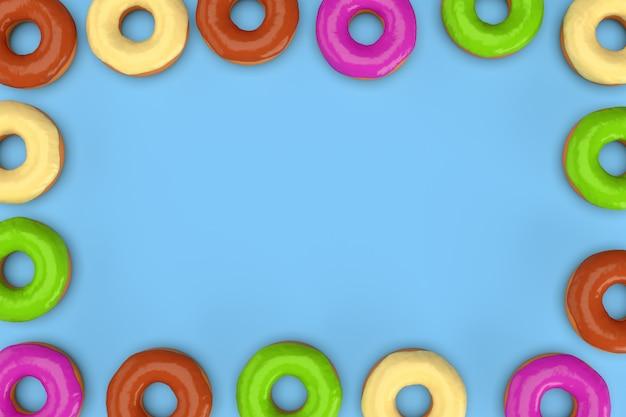 青色の背景にカラフルなドーナツのフレーム