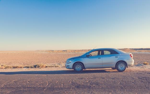 大草原の道路上の車