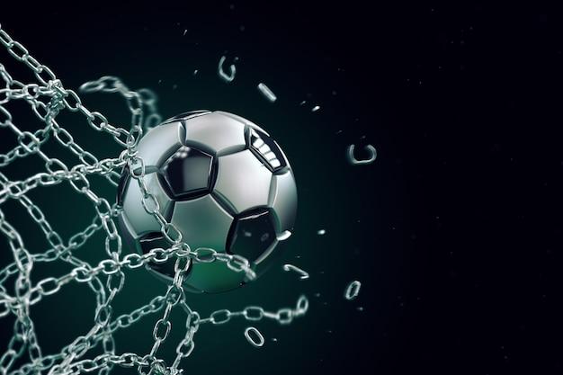 Футбольный мяч из металла, разбивающий металлическую сетку