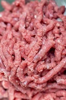 ミンチ肉のクローズアップビュー