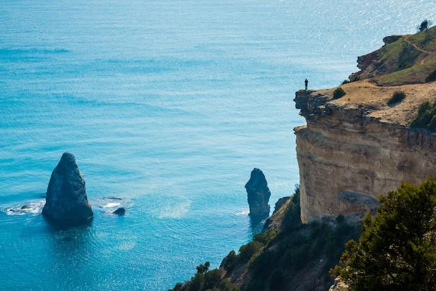 美しい海の風景。自然の組成物。クリミアのビーチサイド。