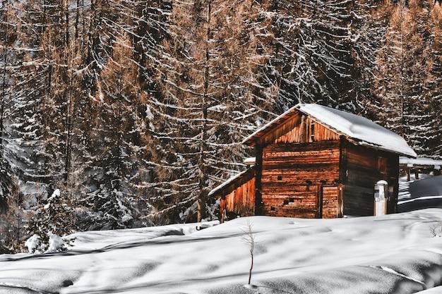 森の近くの雪に覆われた風景の中の茶色の木製キャビン