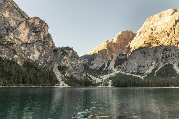 灰色のロッキー山脈と森