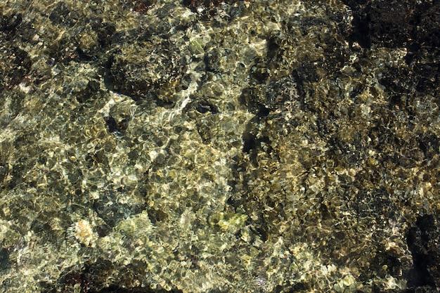 透き通った水の小石からの光の散乱を伴う浅い水の概要。