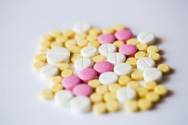 各種医薬品丸薬マクロ。