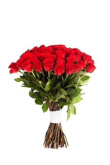 赤いバラの大きな花束