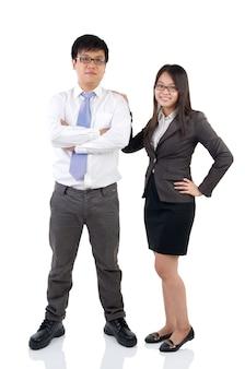 完全な長さの実業家と白で隔離される実業家