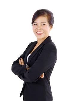 白い背景の上の中年アジアビジネス女性の笑みを浮かべてください。