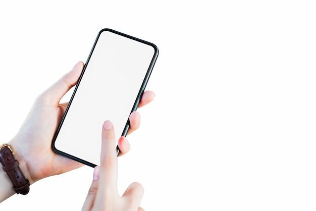 Рука смартфон пустой экран на изолированные.