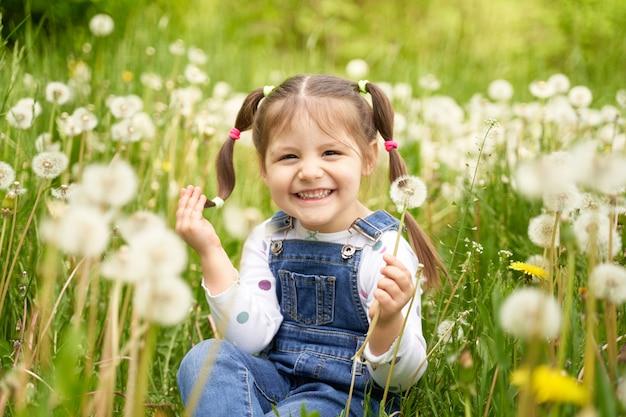Красивая веселая смешная девушка с двумя хвостами сидит на поле с одуванчиками и смеется
