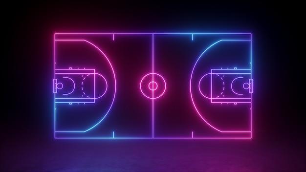 Неоновая баскетбольная площадка