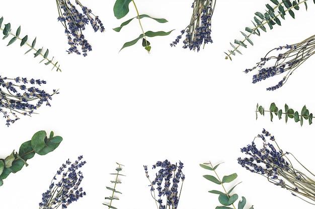 花の組成物。ラベンダーの花と白い背景のユーカリの枝で作られたフレーム。バレンタインの日、母の日、女性の日の概念