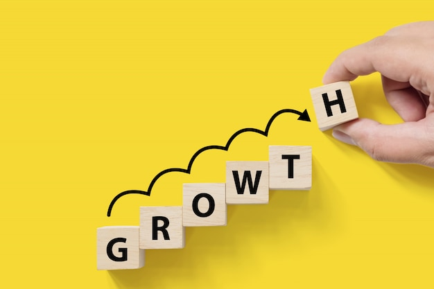 ビジネスの成功の成長成長は、概念を増やします。 「成長」という言葉で樹木が茂ったキューブブロック