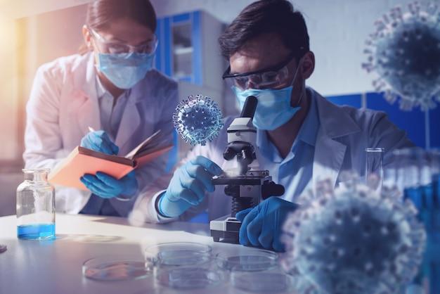 医療科学研究所。ウイルスとバクテリアの研究の概念